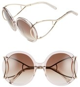 Chloé Women's 'Jackson' 56Mm Round Sunglasses - Crystal Turtledove