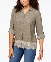 Style&Co. Style & Co Floral-Print Lace-Trimmed Shirt, Created for Macy's