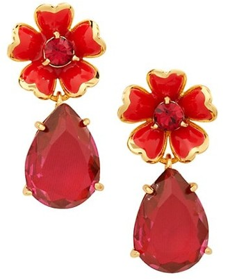 Kate Spade Glass Crystal & Enamel Flower Drop Earrings