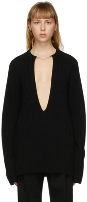 Ann Demeulemeester Black Wool Choker Sweater