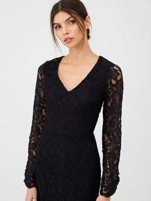 Very V-Neck Lace Midi Dress - Black