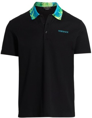 Versace Jungle-Print Collar Polo