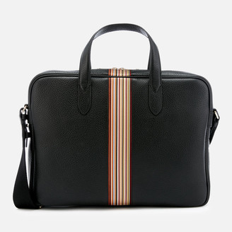 Paul Smith Men's Signature Stripe Slim Leather Business Folio - Black