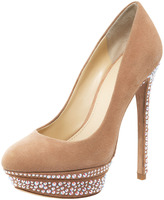 Brian Atwood Francoise Crystal-Detail Suede Platform Pump