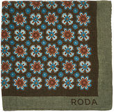 Roda Men's Floral Twill Pocket Square-TAN