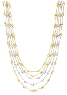 Catherine Malandrino Bar Link Layered Necklace in Yellow Gold-Tone Alloy