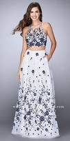 La Femme Two Piece Floral Embroidered A-line Prom Dress