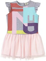 Fendi Logo T-shirt Dress With Tulle Skirt (Baby) - Gray - 9 Months