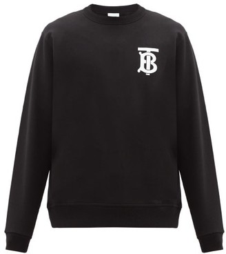 Burberry Dryden Tb-monogram Cotton Sweatshirt - Black