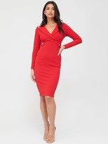 Quiz Button Lapel Midi Dress - Red