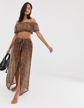 South Beach Wrap Maxi Skirt-Multi
