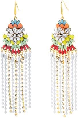 Steve Madden Crystal Glass Flower Fringe Earrings
