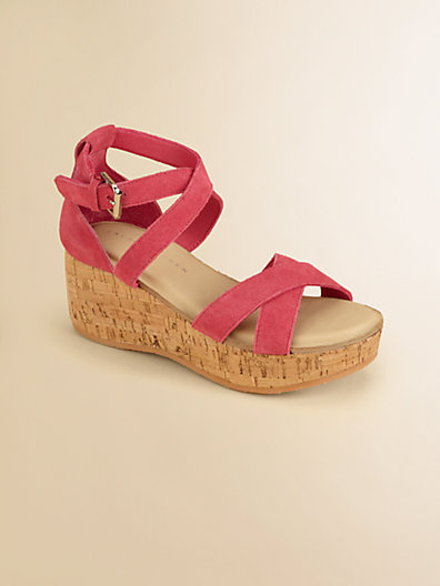 Ralph Lauren Girl's Fiona Suede Wedge Sandals