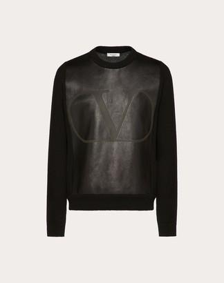 Valentino Vlogo Crew-neck Sweater Man Black Virgin Wool 70%, Cashmere 30% L