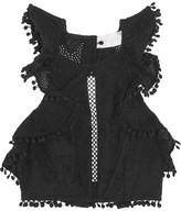 Zimmermann Caravan Pompom-trimmed Broderie Anglaise Cotton Top - Black
