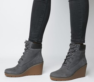 Timberland Paris Height 6 Inch Wedge Boots Med Grey