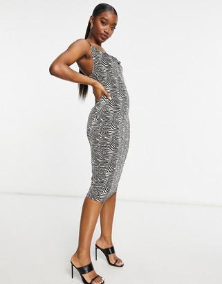 I SAW IT FIRST cowl midi dress in zebra
