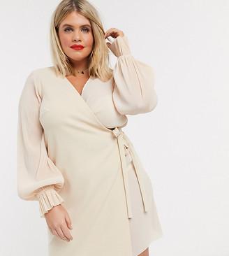 ASOS DESIGN Curve wrap mini dress in plisse mix in pale pink