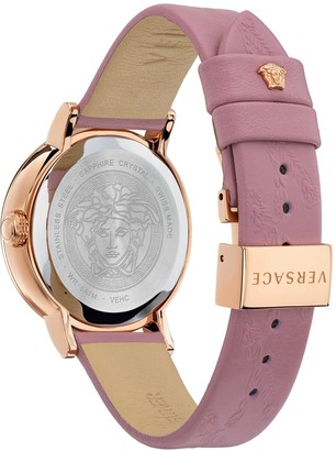 Versace Virtus Light Blue and Rose Gold Dial Pink Leather Strap Ladies Watch