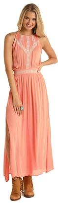 Rock and Roll Cowgirl High Neck Maxi Dress D5-5155 (Peach) Women's Dress