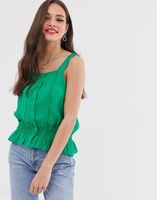 Pimkie button front with ruched waist in green