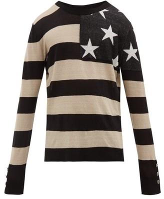 Balmain American Flag Linen Sweater - Mens - Black White
