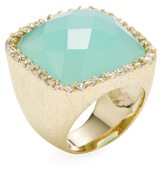 Rivka Friedman CZ Bezel Bold Cushion & Faceted Chalcedony Design Statement Ring