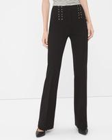 White House Black Market Petite Black Lace-Up Waist Flare Pants