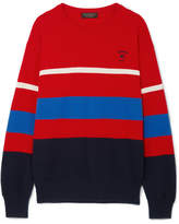 Burberry Embroidered Striped Wool Sweater - medium