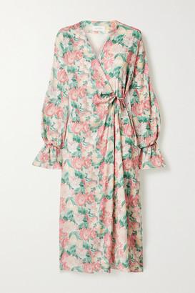 ART DEALER Floral-print Silk-blend Georgette Wrap Dress - Pink