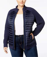 Charter Club Plus Size Quilted-Front Knit Jacket, Created for Macy's