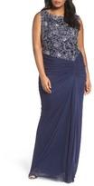 Tadashi Shoji Plus Size Women's Embroidered Mesh Gown