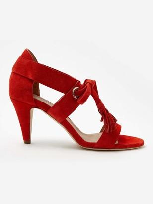 Sclarandis Alice Eyelet Sandal in Red Size 39.5