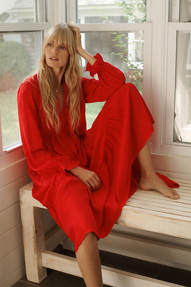 Maeve Wendy Tiered Maxi Dress By in Red Size XS