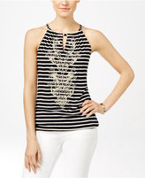 INC International Concepts Petite Embroidered Striped Halter Top, Only at Macy's