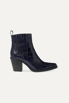 Ganni Callie Croc-effect Leather Ankle Boots - Navy