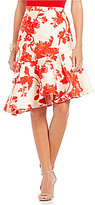 Eva Franco Floral Jacquard Ruffle Skirt