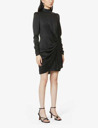 Zimmermann High-neck draped silk-blend mini dress