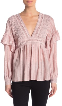 Champagne & Strawberry Long Sleeve Lace Ruffled Blouse