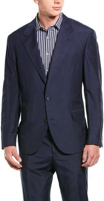 Brunello Cucinelli 2Pc Silk & Linen-Blend Suit With Flat Pant