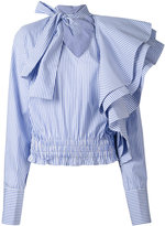 Off-White striped ruffled shirt - women - Cotton - S