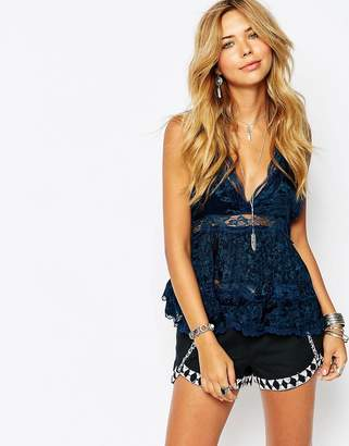 Free People Deep V Trapeze Vest With Lace Inserts-Blue