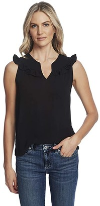 CeCe Sleeveless V-Neck Blouse w/ Ruffle (Rich Black) Women's Clothing