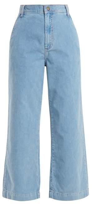 MiH Jeans Lake Wide Leg Cropped Cotton Corduroy Trousers - Womens - Light Blue