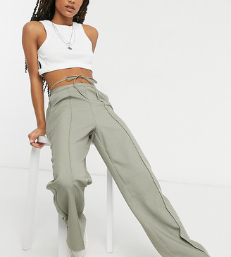 Collusion straight leg trousers with tie waist detail in taupe pinstripe