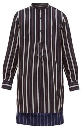 Palmer Harding Palmer//Harding Palmer//harding - Paul Mandarin Collar Stripe Jacquard Twill Shirt - Mens - Navy Multi