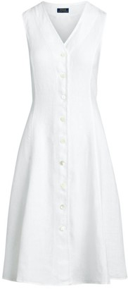 Polo Ralph Lauren Meg Linen Mid-Length Dress