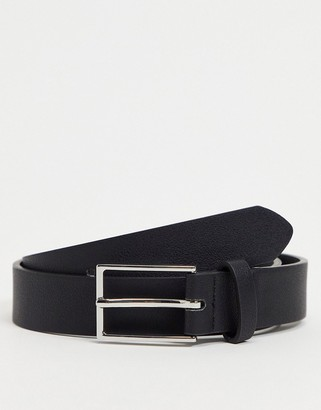 ASOS DESIGN slim belt in black faux leather with silver buckle