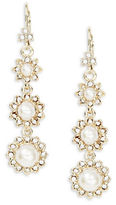 Marchesa Crystal Pave Faux Pearl Linear Drop Earrings