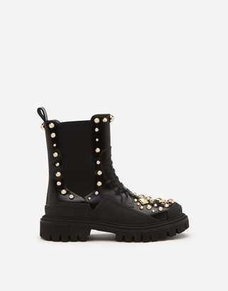 Dolce & Gabbana Polished Calfskin Combat Boots With Studded Embroidery